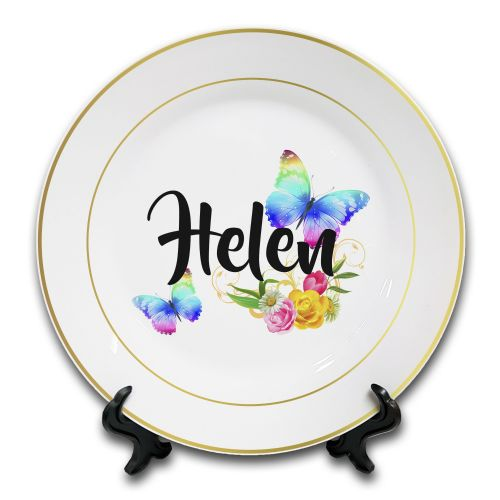 "8"" Personalised Beautiful Butterflies & Flowers Novelty Gift Ceramic Plate & Stand - Gold Rim"
